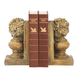 Sterling Industries - Sterling Pair Of Floral Urn Bookends - Bookends are another great desk accessory that help keep order while adding a decorative touch to your home. Share your appreciation of the beauty of the landscape with someone who loves gardening with a pair of floral urn bookends by Sterling. This is a great novelty gift item for the home gardener or landscape artist and will look great sitting on a book shelf in the living room, bedroom, home office or library. Each bookend appears as though it were carved out of stone painted in an antique finish in shades of brown, cream and gold. The bookends measure 9 inches long and 4.25 inches wide and 8 inches tall. Sold as a pair.