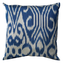"NuLoom - Valerie Ikat Silk And Cotton Decorative Pillow, Blue, 22""x22"" - This Valerie Ikat Silk And Cotton Decorative Pillow would make a great addition to a couch or bed."