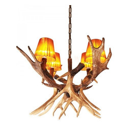 ParrotUncle - Rustic Antler Chandelier with 4 Linen Shades - Rustic Antler Chandelier with 4 Linen Shades