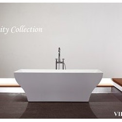 "Virtu USA - Virtu USA 71"" x 31.5"" Freestanding Soaking Tub with Center Drain - White - The Serenity Collection soaking tubs introduces a peaceful tranquility in modern design. Where elegance meets ergonomics, the Serenity Collection is visually mesmerizing and comfortable. Soft curves in transition with sleek edges highlight the contemporary concept. The beauty of the tub reveals a focal point centerpiece of an artful bathroom. Virtu USA uses the finest selection of raw materials to ensure the highest quality product. With a busy lifestyle, it""s important to relax, unwind and indulge yourself in the experience of pleasure and harmony through Serenity. FeaturesDesigner style Serenity CollectionAnti-bacterial surface with high gloss white finishPremium quality acrylic construction for strength and durabilityWarmer to the touch and more comfortable than steel tubsStainless steel frame with adjustable metal feet for stabilityExtra deep for full body immersionNon-porous surface for sanitary and easy cleaningStrong geometric lines designed for ease of use.Cutting-edge technology in seamless tub-body jointsInstalls in a free standing configurationProduct meets or exceeds ASME Code StandardsUPC and CUPC certificationCapacity: 82 GallonsDesigned for one or two person bathingEasy InstallationAssembly RequiredVirtu 2 Year WarrantyVirtu USA reserves the right to repair, replace or refund any products resulting from a manufacturer's defect.SpecificationsFunction: Soaking TubShape: RectangularDrain Placement: CenterMax Water Capacity (Gallons): 82Weight: 105 lbsOverall Height: 22.8"" (top of tub rim to the bottom of basin)Overall Width: 31.5"" (back most to front most point on outer rim)Overall Length: 70.9"" (left most to right most point on outer rim)Basin Width (Bottom): 18.1"" (back to front of basin walls)Basin Length (Bottom): 41.3"" (right to left of basin walls)Basin Width (Top): 28.3"" (back to front of basin walls)Basin Length (Top): 67.7"" (right to left of the basin walls)Water Depth: 17.7"" (depth of water at tub's max capacity)View Spec SheetView Cleaning GuideView Warranty Link"