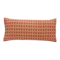 Pine Cone Hill - cross-stitch gold pillow (15x35) - This hand-stitched, showstopping pillow, inspired by old-school needlepoint, comes in two regal color combos on midweight cotton.��This item comes in��gold.��This item size is��35w 15h.