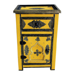 Badia Design Inc. - Moroccan Metal and Leather Cabinet, Yellow - Colorful metal and leather cabinet made with stretch leather and silver metal buttons. This makes for a unique and colorful storage unit that can be used in any room in your home, apartment or office.