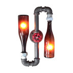 "Peared Creation - Contorted Sconce, Amber Bottle - Flip your decor with this topsy turvy, industrial-style, brewery-inspired lamp. With this on your wall, you'll have a conversation piece every time you turn on the ambient light, using the rotating faucet handle ""switch"". Bottoms up!"