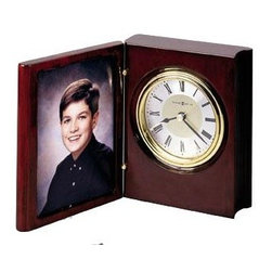 "HOWARD MILLER - Howard Miller Portrait Book Desk Or Table Clock - This handsome ""book"" clock offers a folding front cover that will house a photograph or engraved brass plate (not included)."