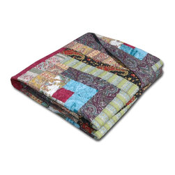 None - Colorado Cabin Quilted Cotton Throw Blanket - Give your home decor a vintage wooden retreat vibe with this Colorado Cabin throw blanket. Crafted with pure cotton for comfort,this quilted blanket is decorated with a rustic patchwork design that reverses to paisley.