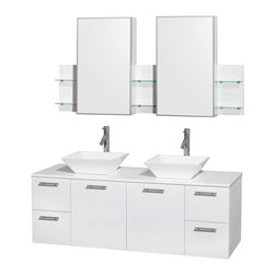 """Wyndham Collection - Amare 60"""" Vanity, White Stone, Pyra White Sink - Modern clean lines and a truly elegant design aesthetic meet affordability in the Wyndham Collection Amare Vanity. Available with green glass, acrylic resin or pure white man-made stone counters, and featuring soft close door hinges and drawer glides, you'll never hear a noisy door again! Meticulously finished with brushed chrome hardware, the attention to detail on this elegant contemporary vanity is unrivalled."""