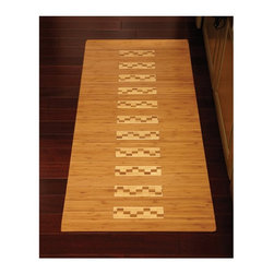 Anji Mountain - Anji Mountain AMB0090 High Gloss Inlaid Bamboo Kitchen/Bath Mat - Natural Light - Shop for Mats and Rugs from Hayneedle.com! With its intricate inlay and high-gloss water-resistant poly finish the Anji Mountain AMB0090 High Gloss Inlaid Bamboo Kitchen/Bath Mat - Natural is a striking way to dress your kitchen floor. A non-skid backing keeps it in place. This rug comes in select size options.Note: Due to individual computer monitor settings actual colors may vary slightly from those you see on your screen.About Anji Mountain Bamboo Rug Co.Anji Mountain Bamboo rugs and office chair mats are ecologically friendly. Bamboo has a robust root system that generates multiple new shoots for every mature stalk that is harvested. Unlike hardwood that can take decades to grow to a mature height ready for harvest bamboo grows 8-12 feet a year! When you purchase a rug or office mat from Anji Mountain Bamboo Rug Co. you help support the ecologically responsible practice of regulating sustainable bamboo forests instead of clear-cutting old-growth hardwood forests.The dense durable bamboo that Anji Mountain Bamboo Rug Co. uses is carbonized and kiln dried to remove moisture which helps prevent cracking and warping. Because of this process their bamboo rugs and office chair mats are ready to withstand the dry heat of your home or office in the wintertime or the arid climate of those living in the desert and mountains.
