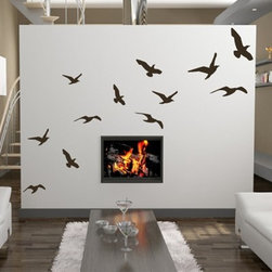 WALLTAT - Singing Birds Wall Decals 12-Pack - Singing Birds Wall Decals includes a 12-pack of birds of varying sizes that will soar across your walls.  Available on Houzz in Size B in color Black, dimensions are based on alternate photos overall layout.  Birds range in size from 7in - 12in in width.  Convert your walls into interesting landscapes in just minutes with WALLTAT Wall Decals.  Made in the USA.