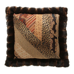 Brandi Renee Designs - Diagonal Patchwork Pillow With Fur Trim - Whether you're an animal lover or not, there's no denying how fashionably chic this patchwork cushion is. With details pulled straight from the runway, it's stylish and elegant. The collage of florals, animal prints, and beautiful patterns is truly attention grabbing. Finished off with a warm faux fur trim, this trend-setting accent will give any interior luxurious texture and interest.