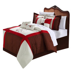 Chic Home - York Brown Comforter Bed in a Bag set 8 Piece - King - Color Block Pieced Patchwork Detailed embroidery comforter set. Red and Brown Hughes allow you to compliment this Decor to any inspired look you need. Soft floral embroidered are also a plus to create that old world charm to any room Decor. Oversized and Overfilled. 4 Elegant Decor pillow combinations give you many alternate looks you can achieve with just this one set. This 8-piece lavish comforter set comes with everything you need to do a complete makeover for your master or guest suite.