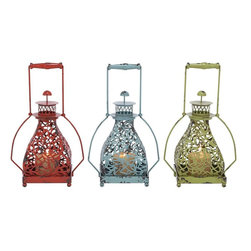 Benzara - Metal Candle Holder 3 Assorted with Vibrant Colors - Brighten your home decor with this Classic Metal Candle Holder 3 Assorted with Vibrant Colors. You can bring in that much needed makeover to your home decor via this candle holder set that looks a class apart. Three assorted candle stand will add elegance to your home decor for sure. Made from metal, this antique candle stand can hold one candle at a time. Place it in the middle of the center table and add a warm sophisticated glow to your interiors. Its red, blue and green shade oozes royalty that brings out the best of the metal work from this set. A product that promises to last you long, this one is made for the people who have a taste towards antique products. Crafted from high grade material, this candle holder is sure to last long..