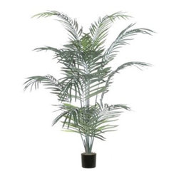 Vickerman 4 ft. Dwarf Palm Deluxe Silk Tree - Perfectly sized for any space, the Vickerman 4 ft. Dwarf Palm Deluxe Silk Tree stands four feet tall. An exotic beauty, this palm tree features feathery silk greenery for an authentic look and feel. It comes planted in a sturdy black plastic pot.About VickermanThis product is proudly made by Vickerman, a leader in high quality holiday decor. Founded in 1940, the Vickerman Company has established itself as an innovative company dedicated to exceeding the expectations of their customers. With a wide variety of remarkably realistic looking foliage, greenery and beautiful trees, Vickerman is a name you can trust for helping you create beloved holiday memories year after year.