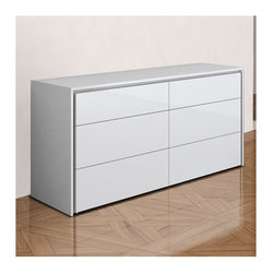 """Casabianca Furniture - Zen 6 Drawer Dresser - Features: -Six drawers.-Push mechanism to open and close the drawers.-Zen collection.-Distressed: No.-Collection: Zen.-Powder Coated Finish: No.-Hardware Material: Stainless steel hardware.-Non Toxic: Yes.-Scratch Resistant: No.-Storage Function: Clothing.-Drawers Included: Yes -Number of Drawers: 6.-Drawer Glide Material: Steel.-Soft Close or Self Close Drawer Glides: No.-Ball Bearing Glides: No.-Drawer Dividers: No.-Felt Lined Drawers: No..-Exterior Shelves: No.-Clothing Hooks Included: No.-Cabinets Included: No.-Cable Management: No.-Hidden Storage: No.-Interchangeable Panels: No.-Mirror Included: No.-Hutch Included: No.-Finished Back: Yes.-Commercial Use: No.-Recycled Content: No.-Eco-Friendly: No.-Gloss Finish (Finish: White High Gloss): Yes.-Gloss Finish (Finish: Espresso Veneer): No.Dimensions: -Overall Height - Top to Bottom: 29.5"""".-Overall Width - Side to Side: 63"""".-Overall Depth - Front to Back: 19"""".-Drawer: Yes.Assembly: -Assembly Required: No.-Additional Parts Required: No.Warranty: -Product Warranty: 6 months."""