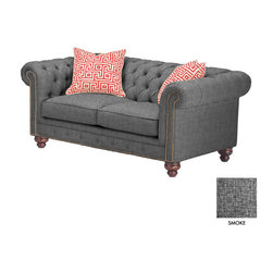 """Apt2B - Bellflower Apt. Size Sofa, Smoke - Tufted buttons and bronze nailhead accents make this collection the belle of the ball. The Bellflower has all of the style of your grandfather's study and gives it a modern, twist that is so """"in"""" right now. With rich, espresso finished wooden legs, bring some fabulous into your home."""