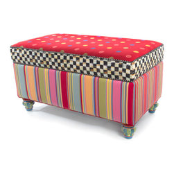 Playhouse Storage Bench   MacKenzie-Childs - Riotous color, humor, and durability in a line of furniture your energetic little ones will love! Truly unusual and uniquely MacKenzie-Childs. Nontoxic paints, child safety tested.