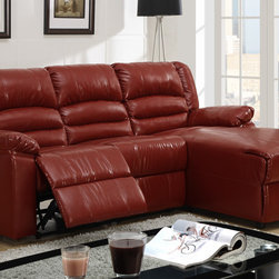 Small Burgundy Leather Reclining Sectional Sofa Recliner Right Chaise - Perfect for entertaining friends or a family movie night, this large recliner sectional not only provides ultimate comfort, but delivers contemporary style with plush seating and backrest upholstered in a hazelnut hue of microfiber with espresso bonded leather trim. This unit also includes a Right-sided chaise.