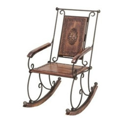 Benzara - Hand Carved Wood Rocking Chair with Solid Metal Frame - Hand Carved Wood Rocking Chair With Solid Metal Frame.
