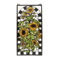 """Meyda Tiffany - 12""""W X 24""""H Sunflowers In Bloom Stained Glass Window - A delightful field of sparkling Country Brown eyed Sun Yellow sunflowers growing on stalks of summer Bronzed Green leaves framed in a trelliswork of Black and White. This delightful Meyda original stained glass Tiffany style window moves the sun drenched flowers from the field to your home."""