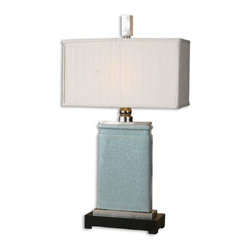 Uttermost - Uttermost Azure Table Lamp in Light Blue Crackled Porcelain - Shown in picture: Light Blue Crackled Porcelain With Nickel Plated Accents This lamp has a light blue crackle porcelain body and nickel plated accents - and is topped nicely with a rectangular - ivory textile shade.