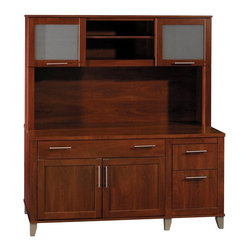 "Bush - Bush Somerset 60"" Computer Credenza with Hutch in Hansen Cherry - Bush - Home Office Desks - WC8172903PKG1 - Bush Somerset  Hutch for 60 inch L-Desk in Hansen Cherry (included quantity: 1) With its rich, dark Hansen Cherry finish, the Bush Somerset 60"" Hutch lends a naturalistic look to your home office. This luxury hutch fits atop the Bush 60"" Computer Desk, and features a classic flair with all the conveniences of the ultra-modern.  Features:"