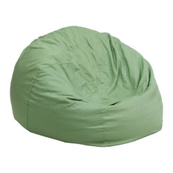 Flash Furniture - Flash Furniture Embroidered Children's Chairs Kids Embroidered Small Bean Bags X - The comfy bean bag chair is a great way for kids to sink into comfort. The lightweight bean bag allows children to tote it all over the house. The slipcover can be removed for cleaning or spot cleaned upon accidents. Beads are securely contained with a metal safety zipper. [DG-BEAN-SMALL-SOLID-GRN-GG]