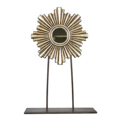 Worlds Away Carmen Mini Mirror Sculpture , Silver, Medium - Gold or silver leaf iron and wood sculpture with mini mirror.