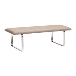 Zuo - Taupe Cartierville Bench - Boasting an architectural silhouette and a stainless steel make, this sturdy bench imparts a sleek metropolitan style to your abode.   61'' W x 25'' H x 31.9'' D Stainless steel / faux leather Imported
