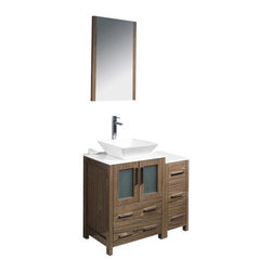 """Fresca - 36"""" Walnut Brown Vanity w/ Side Cabinet & Vessel S Soana Brushed Nickel Faucet - Fresca is pleased to usher in a new age of customization with the introduction of its Torino line.  The frosted glass panels of the doors balance out the sleek and modern lines of Torino, making it fit perfectly in eithertown or country decor."""