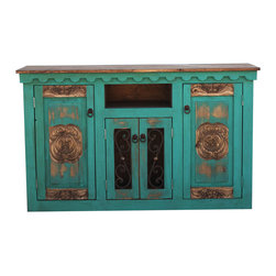 Hand Carved Rustic Vanity, 48x20x32 - An Absolutely Gorgeous hand carved rustic turquoise vanity! The doors have ornate designs which have been hand carved and show off this piece's true elegance. The 2 center doors contain hand made metal work which provides a unique appearance as well as a perfect place to store decorative towels, baskets or other items. The vanity is pictured in turquoise. Each piece is handmade to order.