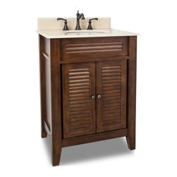 Elements - Elements Lindley Nutmeg Vanity, Painted Nutmeg White Top - Elements 26 1/2 Inch wide MDF (Medium-density fibreboard) vanity features louvered doors to give Elements vanity a country flair. The warm nutmeg finish and clean lines lends a contemporary feel. A large cabinet provides ample storage. Elements vanity has a 2CM Cream marble top preassembled with an H8809WH (15 Inch x 12 Inch) bowl cut for 8 Inch faucet spread and corresponding 2CM x 4 Inch tall backsplash. Overall Measurements: 26 1/2 Inch x 21 3/4 Inch x 35 3/4 Inch (measurements taken from the widest point) Finished in Painted Nutmeg Material: MDF (Medium-density fibreboard) Style: Traditional Coordinating Mirror(s): MIR078 Bowl: H8809WH
