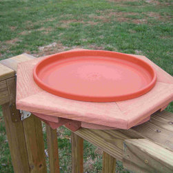 Songbird Essentials - Cedar Heated Deck BirdBath - Triangular mounts adjustable for deck or fence. Comes with a clay-colored 1 inch deep pan. Heavy-duty plastic 14 inch bath pan, 13/8 inch deep. Hollow post hides electricity cord. Long-lasting Western Red Cedar construction. Double cedar frame is 22 inch
