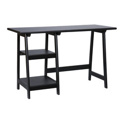Holly & Martin - Gavin Desk, Black - Crafted with simplicity in mind, this black desk has a stylistic expression all its own. The top is spacious and finished with a rounded edge. The frame is built with durable hardwood legs in an A-frame shape. The left side of the desk features two sturdy shelves for decoration and accessory storage. Perfect for home office, entry, or living room this rich desk is sure to bring compliments.