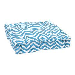 iMax - iMax Blue Chevron Floor Cushion X-05068 - This functional floor cushion features a fun blue chevron print fabric with tufted details.