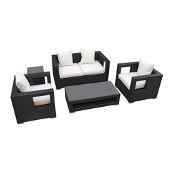 "LexMod - Lunar 5 Piece Outdoor Patio Sofa Set in Espresso White - Lunar 5 Piece Outdoor Patio Sofa Set in Espresso White - Elicit pure perceptions with this brightly illuminated outdoor living set. Inherit abundant light and energy as even the moon's halo shines a radiant glow on fertile white all-weather cushions and espresso rattan base. Rejuvenating discussions await along the path of illuminated space and emergent explorations. Set Includes: Four - Lunar Outdoor Wicker Patio Throw Pillows One - Lunar Outdoor Wicker Patio Coffee Table One - Lunar Outdoor Wicker Patio Loveseat One - Lunar Outdoor Wicker Patio Side Table Two - Lunar Outdoor Wicker Patio Armchairs Synthetic Rattan Weave, Powder Coated Aluminum Frame, Water & UV Resistant, Machine Washable Cushion Covers, Easy To Clean Tempered Glass Top, Ships Pre-Assembled Coffee Table Dimensions: 47""L x 24""W x 13""H Side Table Dimensions: 18""L x 18""W x 18""H Loveseat Dimensions: 59""L x 33""W x 28""H Armchair Dimensions: 33""L x 31""W x 28""H Seat Height: 13""HBACKrest Height: 27.5""H Armrest Dimensions: 4""W x 27.5""H Cushion Depth: 4""H Overall Product Dimensions: 121""L x 66""W x 28""H - Mid Century Modern Furniture."