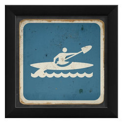 The Artwork Factory - Kayaking Sign Framed Artwork - Ready-to-Hang, 100% Made in the USA, museum quality framed artwork