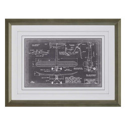 Paragon - Aero Blueprint VII - Framed Art - Each product is custom made upon order so there might be small variations from the picture displayed. No two pieces are exactly alike.