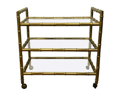 Pre-owned 1950s Faux Bamboo Bar Cart - A late 1950s or early 1960s 3 tier, faux-bamboo bar cart with gilt finish. It's completely original, and completely gorgeous! This cart is a nice size for many interior design applications, including barware, book storage or as a media console in a small space.