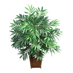 Bamboo Palm with Wood Wicker Basket Silk Plant - Re-create the feelings of a warm summer night anytime of year with this exotic bamboo palm. Wispy, lush leaves are the secret to this tropical sensation, which stands a full 32 inches tall. In fact, this lofty bamboo plant is sure to catch the eye of all who gaze upon it. Best of all, this carefree silk plant will thrive even on cloudy days. A bold wood wicker basket further enhances the splendor of this extravagant beauty. Height= 32 in x Width= 27 in x Depth= 24 in