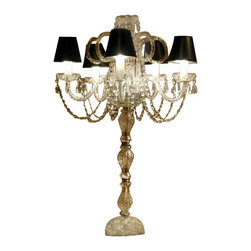 The Gallery - SET OF 10 WEDDING CANDELABRAS CANDELABRA CENTERPIECE CENTERPIECES - SET OF 10 - THESE MAGNIFICENT CANDELABRAS ARE ALL 100% CRYSTAL. These beautiful candelabras are perfect centerpieces for your wedding or event and are sure to make a statement where ever they are placed! Each candelabra is decorated with 100% crystal that capture and reflect the lights, each resting in a scalloped bobache. The crystal glass arms of this wonderful candelabra give it a look of timeless elegance that is sure to lend a special atmosphere anywhere its placed.Assembly Required