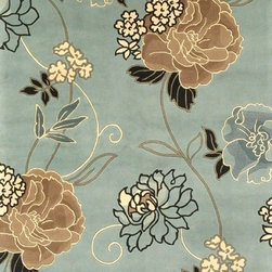 Kas - Country & Floral Catalina 5'x8' Rectangle Blue Area Rug - The Catalina area rug Collection offers an affordable assortment of Country & Floral stylings. Catalina features a blend of natural Sienna color. Hand Tufted of 100% Wool the Catalina Collection is an intriguing compliment to any decor.