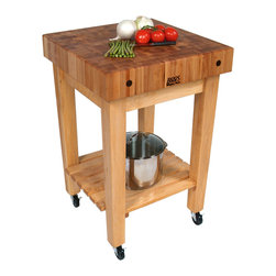 John Boos - John Boos Gourmet Block  Maple Butcher Block Stand or Cart - 24 x 24 in. end-grain maple butcher block top. Add wheels to make it a kitchen cart. Lovely base includes slightly tapered square legs and a slatted shelf.