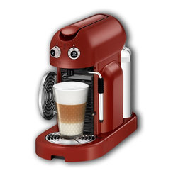 DeLonghi Nespresso - Nespresso Maestria 500, Red - The all aluminum body, high quality materials and world-renown Nespresso engineering standards all combine to give you a machine that will deliver years of trouble free service. The Maestria is also equipped with a descaling alarm, and water hardness setting and will automatically power off after a certain time of inactivity.
