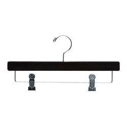 Velvet Flocked Pant/Skirt Hanger with shiny chrome hooks and cushion inserted cl - Box of 45 hangers.