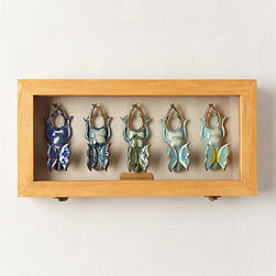 Entomology Shadow Box, Blue Beetles - This entomology shadowbox from Anthropologie makes me want to get crafty and DIY my own version! Maybe I'd spray some scarabs or collect some mercury glass beetles. Options abound!