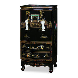China Furniture and Arts - Black Lacquer Jewelry Armoire - Upon opening the double doors, four spaciously felt-lined drawers are revealed before you. The top drawer has a roll of ring rack on each side. The inside of the doors are nicely felt-lined and has a line of gold-plated hooks on each side to hang necklaces or other stringed articles. At bottom, two large felt-lined drawers provide additional storage space. Exquisitely hand painted in black lacquer finish with Chinese courtyard scenes and accented with mother of pearl dancing figures. A perfect gift for her. (Fully assembled.)