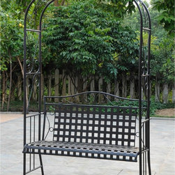 None - International Caravan Wrought Iron Arbor Bench - Create a luxurious haven in your own backyard with this elegant wrought-iron bench. Crafted with a classic lattice-back design and scroll-work accents,this comfortable cushioned bench makes a stylish focal point to your outdoor decor.