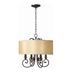 World Imports - Rue Maison 4 Light Iron Chandelier w Shades i - Manufacturer SKU: WI 350429. Bulbs not included. Hardback beige shades. Flirty curls and tangible panache. Euro Bronze Finish takes center stage. Rue Maison Collection. 4 Lights. Power: 60W. Type of bulb: Candelabra. Euro Bronze finish. 10 ft. Chain & 12 ft. Wire. 18 in. W x 17.5 in. H (13 lbs.)