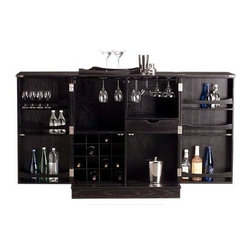 Proman - Proman Steamer Bar Cabinet, Ashwood Black Finish - Steamer Bar Cabinet, Ashwood black finish. Casters underneath for easy moving. Holds 16 Wine Bottles with concealed hidden casters for easy moving Includes 2 fixed shelves, bottle storage on both doors. Removable serving tray. Gliding glass hanger, pull out drawer, distinctive recessed panel grid design.