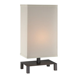 Lite Source - Lite Source Lukah Contemporary Table Lamp XSL-40022 - From the Lukah Collection, this Lite Source contemporary table lamp features a unique and modern design that will effortlessly compliment any traditional or modern space. The unique shape of the base is highlighted by the rich tones of the Dark Bronze finish while the off-white rectangular shade completes the look.