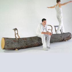 Droog - Droog Tree-Trunk Bench - Who ever said a fallen tree can't serve as a seat?  With the addition of bronze classical chair backs, makes this a proper piece of furniture, a crossing between nature and culture.  Jurgen Bey makes clear that it is ridiculous to transport trees when they are locally available.  Therefore, only the chair backs are for sale.  The chair backs come in a set of 3 and vary in size.  Manufactured by Droog.Designed in 1999.